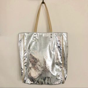 Sam Edelman Silver Leather Snakeskin Tote